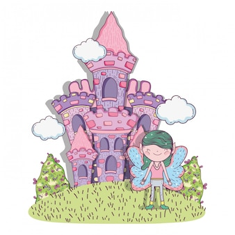 Creatura fantastica del ragazzo con castello e nuvole