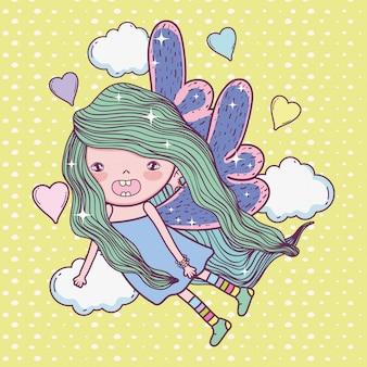 Creatura fata ragazza con ali e cuori