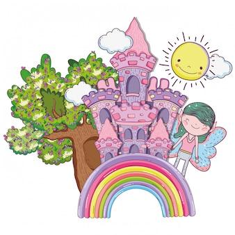 Creatura fata ragazzo con castello nell'arcobaleno