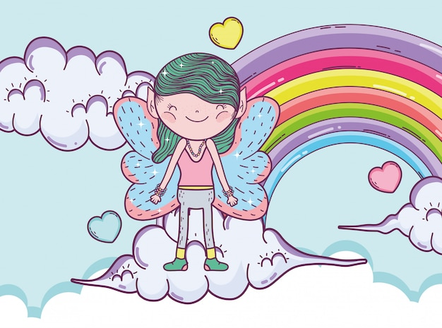 Creatura fata ragazzo tra le nuvole con arcobaleno e cuori
