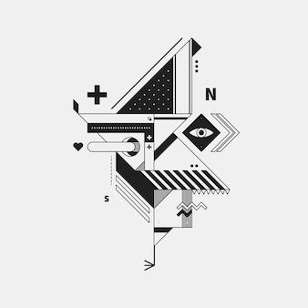 Creatura monocromatica astratta su sfondo bianco. stile del cubismo e del costruttivismo. utile per stampe e poster.