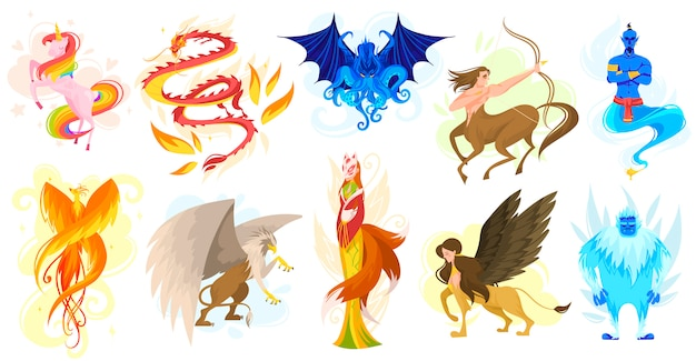 Creature mitiche e animali da favola, set di personaggi dei cartoni animati, illustrazione