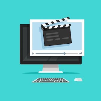 Creazione del film o produzione cinematografica online sullo stile piano del fumetto dell'illustrazione di concetto di vettore del computer