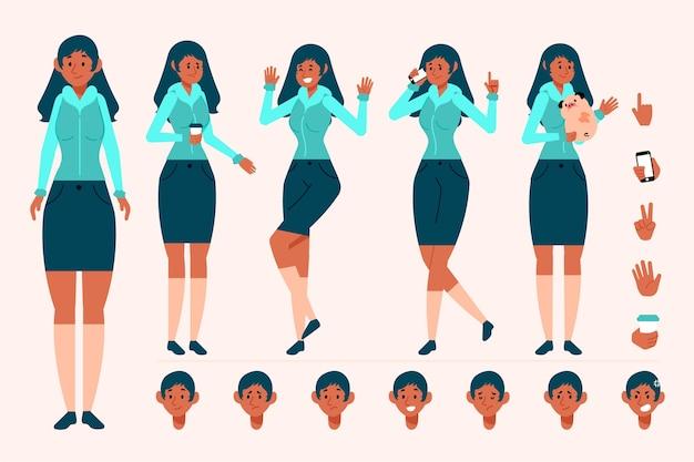 Creazione del personaggio di donna con diverse pose