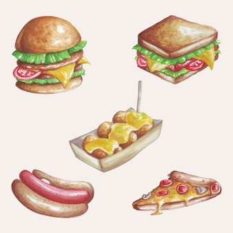 Creazione dell'acquerello di ispirazione dall'illustrazione di alcuni deliziosi fast food.