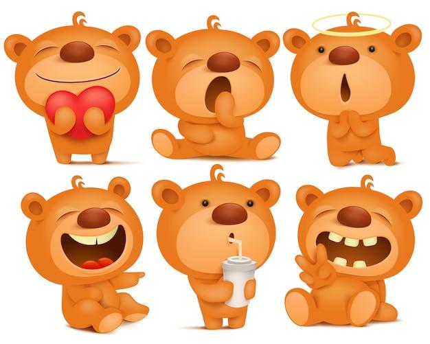 Creazione set di personaggi emoji orsacchiotto con diverse emozioni