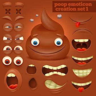 Creazione set di personaggio emoticon cacca cartone animato.