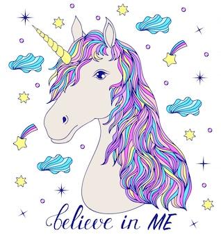 Credi in me. testa di unicorno disegnato a mano