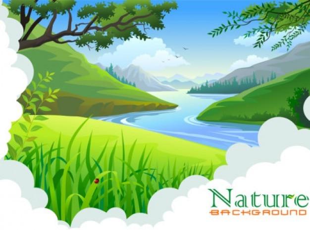 Creek paesaggio con sfondo verde
