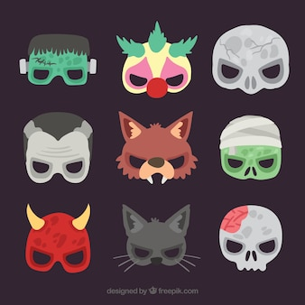 Creepy maschere di halloween a metà faccia