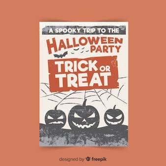 Creepy poster di halloween party con design piatto