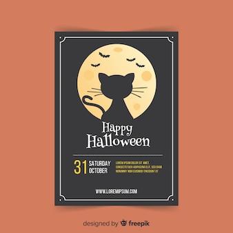 Creepy poster di halloween party con design piatto
