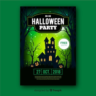 Creepy poster di halloween party con un design realistico