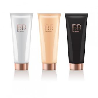 Crema bb in diversi colori di tubi realistici con cappuccio in oro. pacchetti di fondotinta per il trucco