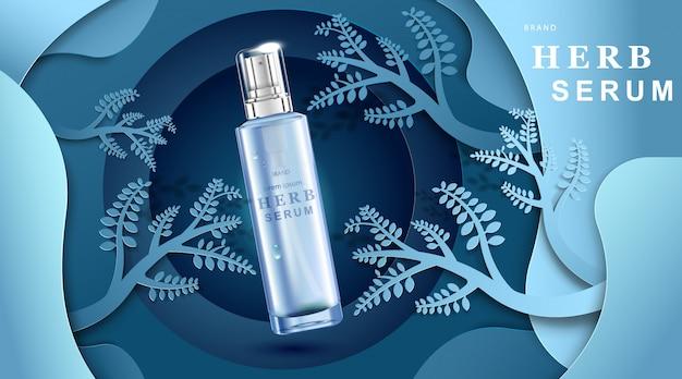 Crema cosmetica di lusso con crema per la cura della pelle, poster di prodotti cosmetici di bellezza, con carta tagliata blu foresta