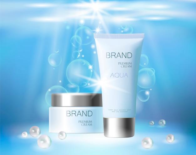Crema cosmetica per la cura della pelle aqua. imballaggio realistico per crema o prodotto cosmetico