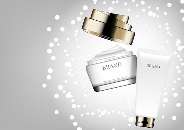 Crema cosmetica su sfondo bianco glitter