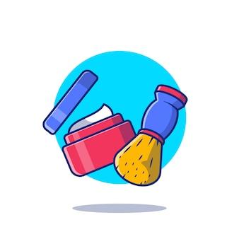 Crema da barba e pennello icona del fumetto illustrazione. barber shop strumenti icona concetto isolato. stile cartone animato piatto