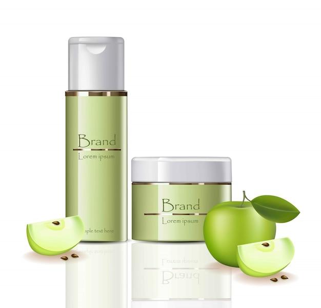 Crema di apple e set di spruzzo vector cosmetici realistici. design delle etichette dei pacchetti di prodotto