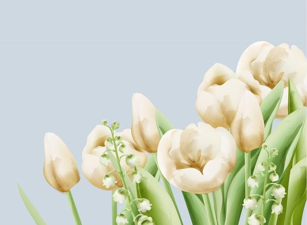 Crema di ranuncolo e fiori a campana con foglie verdi e gambo