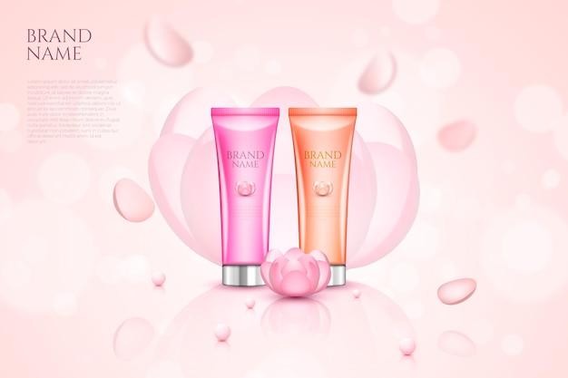 Crema per la cura della pelle con pubblicità di fiori