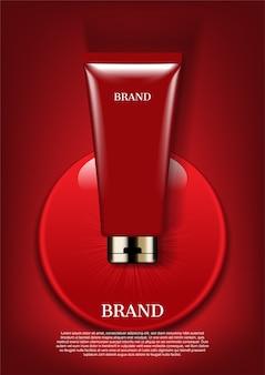 Crema rossa goccia d'acqua, vettore premium modello di annuncio cosmetico