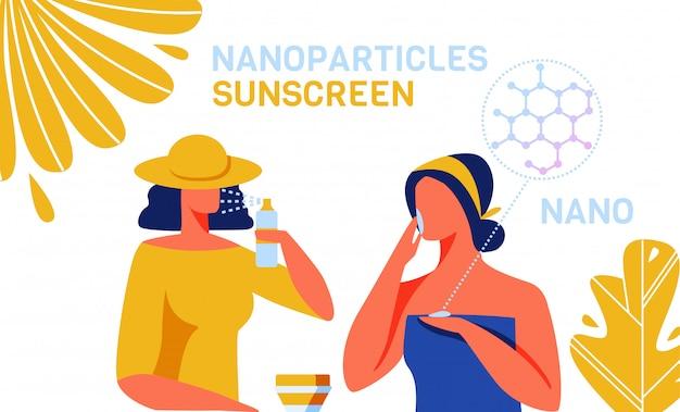 Crema solare prodotti per la cura della pelle con nanoparticelle