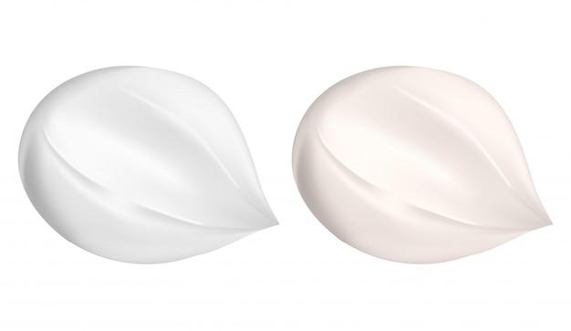 Crema striscio. goccia di lozione di bellezza. crema idratante bianca