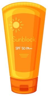 Crema sunblock su sfondo bianco