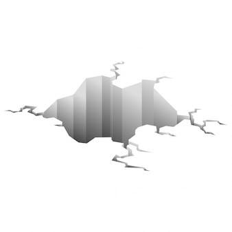 Crepa del terremoto. il foro in terra con le crepe e la distruzione della terra fende il fumetto isolato. superficie delle rotture di danno isolata su bianco