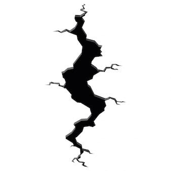 Crepe del terremoto. effetto buco e superficie screpolata. il foro in terra con le crepe e la distruzione della terra fende il fumetto isolato. illustrazione