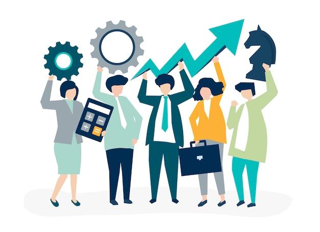 Crescita del business e illustrazione del concetto di strategia