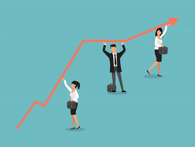 Crescita del business. gente di affari che tiene freccia. freccia del grafico di aumento del gruppo di lavoro.