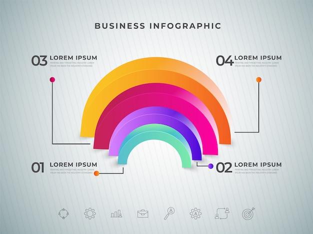 Crescita del business o successo infografica progettazione modello elemento 3d