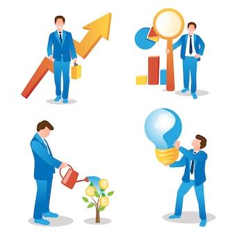Crescita del business, ricerca dei dati, investimenti aziendali e raccolta di concetti di visione innovativi