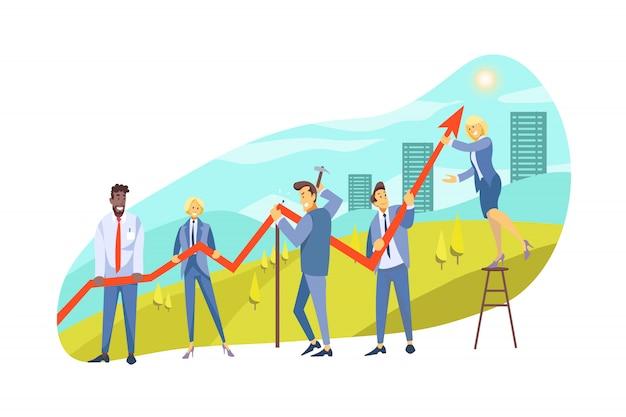 Crescita del profitto, team, collaborazione, partnership, concetto di business coworking