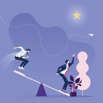 Crescita della carriera aziendale team aziendale che utilizza il trampolino per raggiungere star
