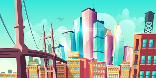 Crescita della metropoli della città moderna, strada con banner ponte