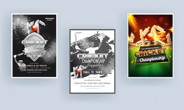 Cricket championship template o flyer design set con torneo di cricket e personaggio di cricketer