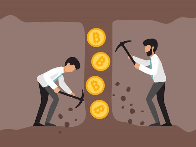 Criptovaluta con minatori di uomini d'affari nei miei. giovani con martello pneumatico e piccone che lavorano nelle miniere di bitcoin.