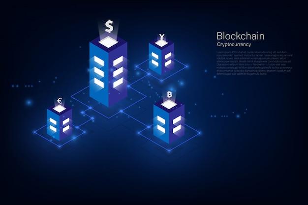 Criptovaluta e blockchain isometrico trasferimento di denaro. valuta globale. borsa valori. illustrazione vettoriale d'archivio