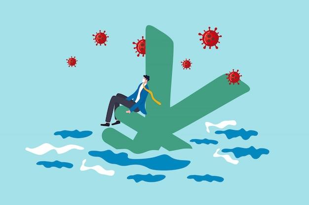 Crisi finanziaria o recessione del giappone dal concetto di scoppio di coronavirus covid-19, maschera da portare d'uso dell'uomo d'affari senza lavoro che si siede sul simbolo di yen giapponese che affonda nell'oceano con l'agente patogeno del virus.
