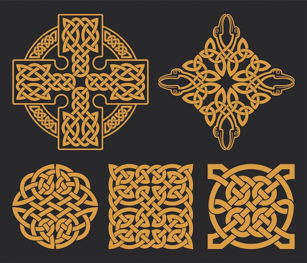 Croce celtica e set di nodi