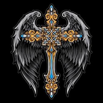 Croce con ali d'angelo vettoriale