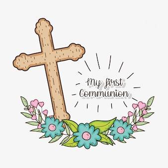 Croce con rami lascia alla prima comunione