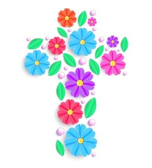 Croce floreale con fiori colorati su sfondo bianco.
