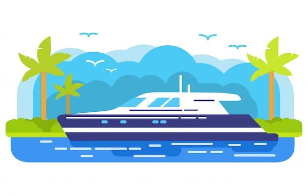 Crociera lussuosa nave yacht, isola tropicale di una palma.