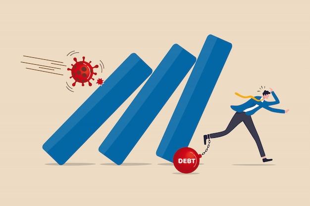 Crollo del coronavirus, società di collasso dell'economia covid-19 fallita a causa di un focolaio di influenza virale, uomo d'affari con panico del debito che fugge dal collasso, cadendo grafico a barre dal patogeno covid-19.
