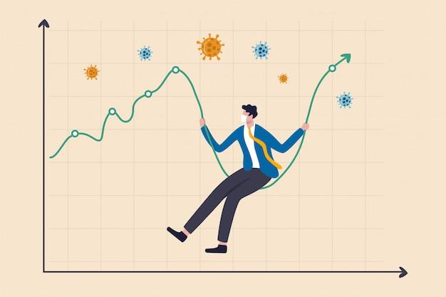 Crollo del mercato azionario di coronavirus precipitato, oscillazione dei prezzi delle attività ad alta volatilità nel concetto di crisi dell'epidemia di coronavirus, uomo d'affari con maschera sanitaria sedersi sul grafico del mercato azionario come altalena, patogeno covid-19