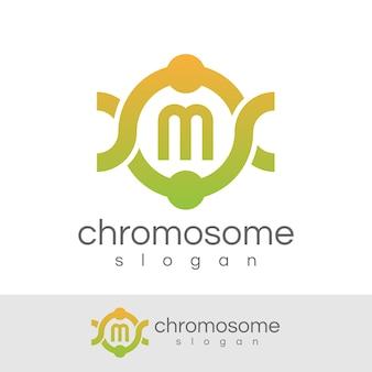 Cromosoma iniziale lettera m logo design